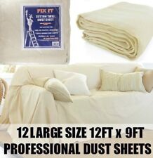 12 x EXTRA LARGE PROFESSIONAL QUALITY 100% COTTON TWILL DUST SHEETS DECORATING