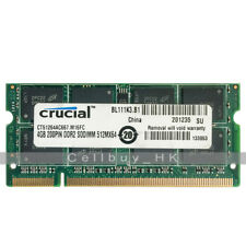 Crucial 4GB 2Rx8 PC2-5300 DDR2 667MHz 512Mx64 200pin SDRAM SoDimm Laptop Memory