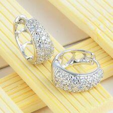 silver plated cute heart hoop earings Vintage Womens clear cubic zirconia round