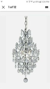 Hampton Bay Chrome 3-Light Branches Pendant w/Crystals