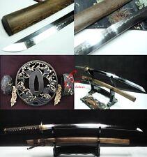 Battle ready flamy hamon japanese samuri katana sword wave tsuba sharpened blade