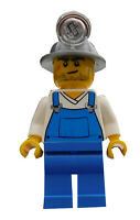 Lego Bauarbeiter Latzhose blaue Beine Kopflampe Minifigur (cty310) City Neu
