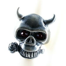 RING ghost SKULL monster pirate silver argent gray solid LARGE ONE SIZE purple