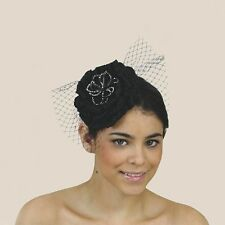 Sassy Black & Silver Formal Racing Wedding Bridesmaid Hat Fascinator Headband