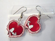 Snoopy Earrings Valentine Pink Red Heart Charms