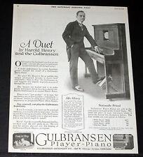 1918 OLD MAGAZINE PRINT AD, GULBRANSEN PLAYER-PIANOS, & PIANIST HAROLD HENRY!