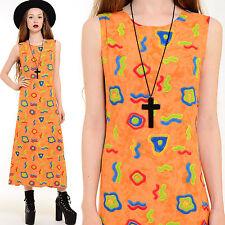Vtg 80s 90s Ethnic Geometric Boho Op-Art Draped Neon Statement Midi Dress Xs S