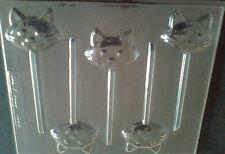 5 CAVITY CAT HEAD CHOCOLATE, LOLLIPOP MOULD, SOAP, CLAY, MOULD / MOULDS