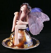 Tea Cup FAIRY Purple Wings Handmade OOAK Fantasy MAGIC
