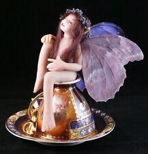 Tea Cup FAIRY Purple Wings Handmade OOAK Fantasy MAGIC