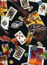 LAS VEGAS CASINO ROULETTE SLOTS BINGO POKER GAME CARDS COTTON FABRIC 14 IN SCRAP
