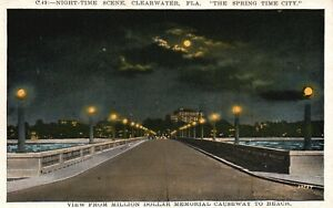 Clearwater, FL, Night View from Causeway to Beach, 1930 Vintage Postcard a3999