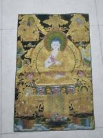 "36"" Tibet Tibetan Cloth Silk Buddhism Golden Buddha Tangka Thangka Mural"