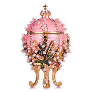 Russische Fabergé Ei / Schmuckkästchen Maiglöckchen mit Kaiserkrone 8,5 cm rosa