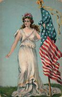 1910 PATRIOTIC ANTIQUE POSTCARD w/ AMERICAN FLAG