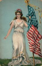 1910 PATRIOTIC ANTIQUE POSTCARD w/ AMERICAN FLAG