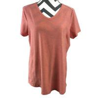 Duluth Trading Womens Large Orange Short Sleeve V Neck Top EUC