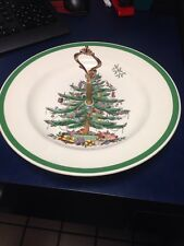 "Spode Christmas Tree 10.5"" Tidbit Relish Tray Plate W Handle England 53324D Best"