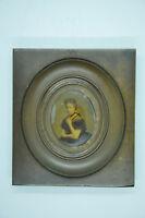 Ancien portrait miniature photo argentique sous verre encadrée collection