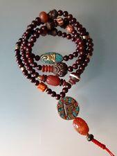 Buddhist Sandalwood 8MM w/ Om Auspicious Guru Bead by Ry Artisan Malas.