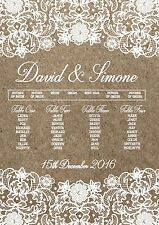 A3 Kraft & Lace print effect wedding seating / table planner (A2 available)