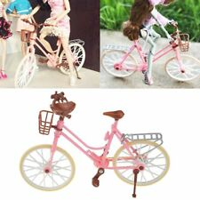Pink Bike Bicycle With Basket For Barbie Doll Outdoor Accessories