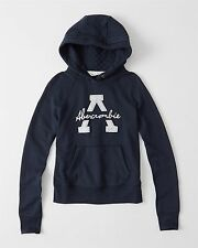 NEW Abercrombie & Fitch Pullover Graphic Logo Hoodie Sweatshirt S Small Navy