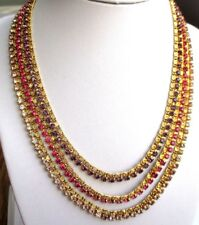 Ancien collier bijou vintage 3 rangs couleur or cristaux améthyste rose 3113