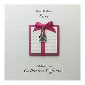 Handmade PERSONALISED Birthday Card - Pink Happy Birthday Cake Charm