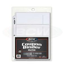 BCW Coupon Binder Refill 40 Assorted Variety Pocket 3 Ring Album Pages Sheets