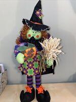 "Halloween Stuffed Fabric Witch- 19""- Preowned- Straw Broom- Pumpkin"