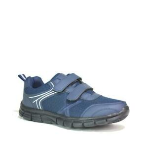 MENS RUNNING TRAINERS FASHION CASUAL TOUCH STRAP GYM WALKING SPORTS NAVY SIZES
