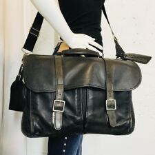 Schlesinger  Bomber Bag Messenger And Briefcase Black Distressed Leather