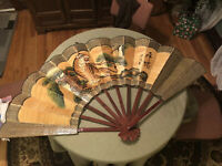 Vintage Asian Bamboo Handpainted Decorative Fan Huge Tiger Stunning Safari Theme