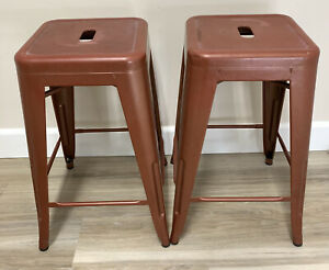 "Furniture 24"" Metal Backless Counter Stool in Distressed Copper Color"