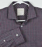 Billy Reid Men's Small Standard Cut Red Navy Gray Plaid Long Sleeve Shirt