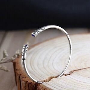 Solid 925 Sterling Silver Mens Lapis Lazuli Patterned Bangle Cuff Bracelet