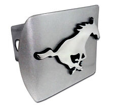 southern methodist mustang logo emblem brushed trailer hitch cover usa made