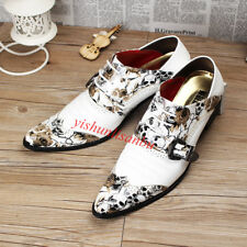 Mems Wing Tip Buckle Lace-up Printing Nightclub Low-top Pointy Toe Party Shoes