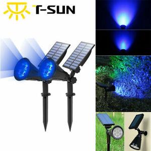 2PACK Solar Blue Outdoor Garden Path Lighting LED Yard Lawn Spotlights Lamp US