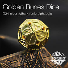 D24 RUNES Elder Futhark divination hollow brass dice with genuine leather bag