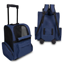 New listing Pet Carrier Dog Cat Rolling Backpack Travel Trolley Airline Crate Luggage Blue