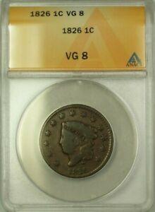 1826 Coronet Head Large Cent 1c Coin ANACS VG-8 (WW)