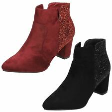 ANNE MICHELLE LADIES ZIP GLITTER MID HEEL PARTY EVENING ANKLE BOOTS F50690 SIZE