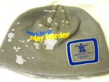 "Vancouver 2010 HBC  Olympic HAT Beanie ""WORK HARD PLAY HARDER""  GRAY  O/S   EUC"