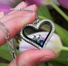 SEPTEMBER Birthstone Crystal Glass Locket Necklace Mom Floating Charm Mother's