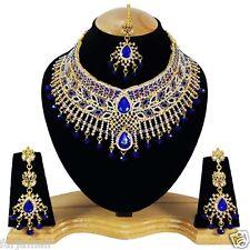 deepika's A.D DESIGNER WEDDING GOLD PLATED NECKLACE SET JEWELRY EARRINGS TIKA