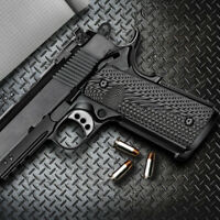 1911 G10 Grips Full Size Magwell Ambi Safety Mag Release Grey Black H1M-JVM-5