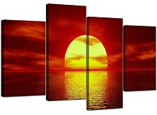 Extra Large Red Canvas Wall Art Pictures Set 130cm Wide XL Prints 4001