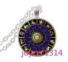 Zodiac Compass Cabochon Tibetan silver Glass Chain Pendant Necklace #976